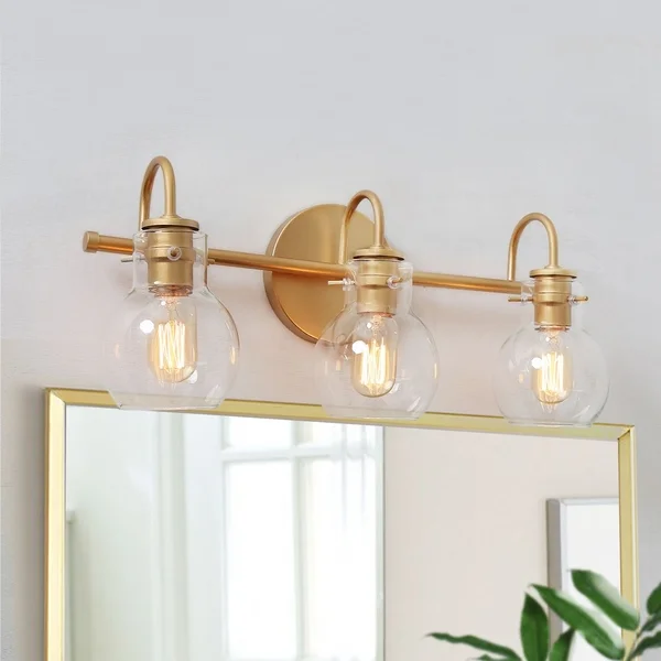 Modern Gold Wall Sconces With Clear Glass Wall Vanity Lighting For