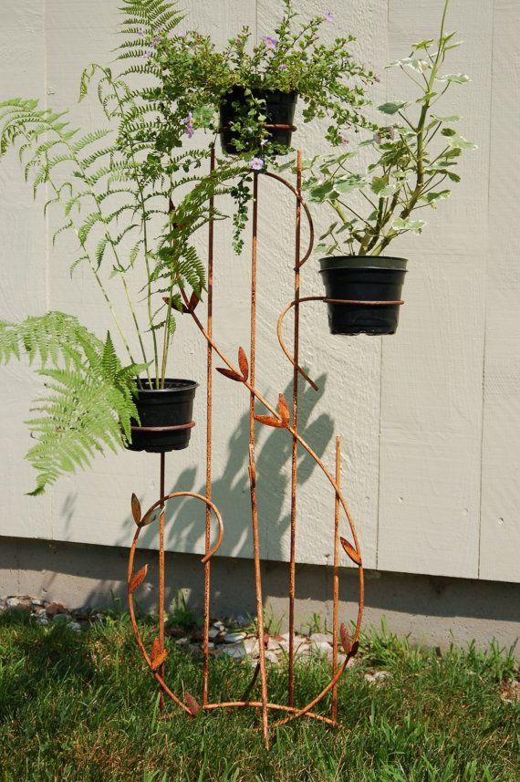 Shabby Chic Farmhouse Rusty Metal Plant Stand Home Decor Garden