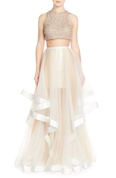 2c41320ba492 Glamour by Terani Couture Beaded Top & Organza Two-Piece Ballgown available  at #Nordstrom