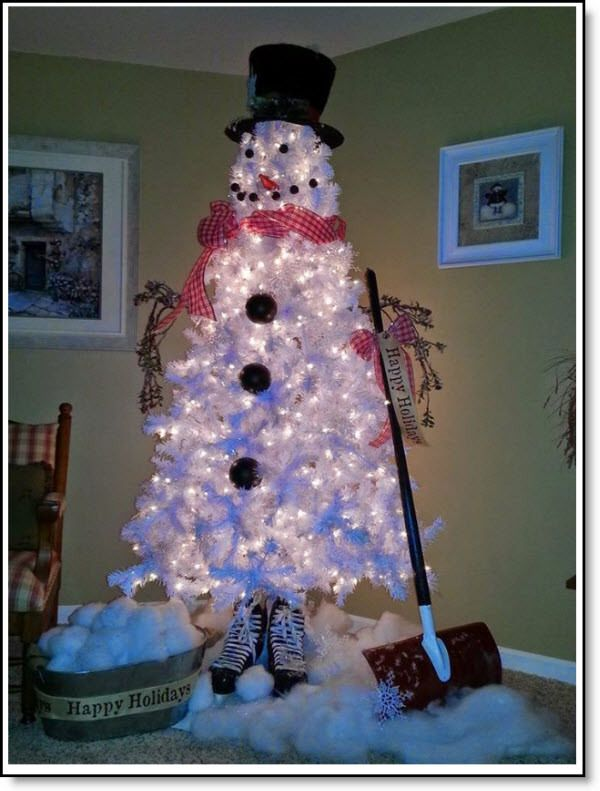 DIY White Christmas Tree Snowman I can see doing this with deco mesh Christmas  tree idea.