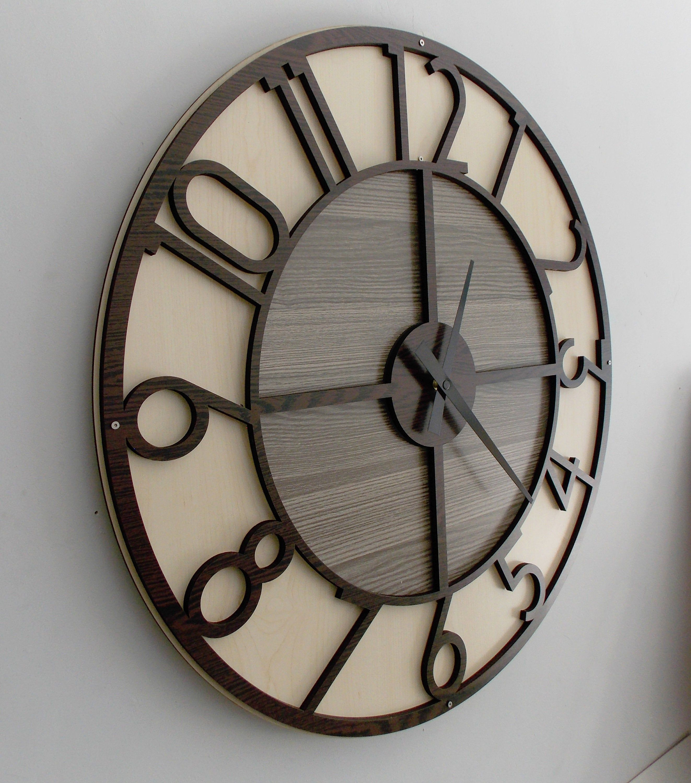Etsy Large Wall Clock Modern Wall Clock Wooden Wall Clock Decorative Clock Engagement Wedding Gift La Rustic Wall Clocks Large Wall Clock Modern Clock Decor