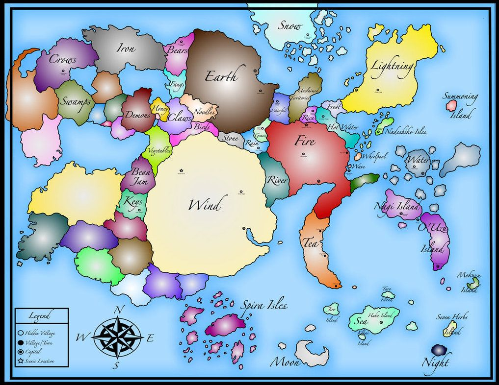 Naruto World Map- by TheLemonSage | Naruto | Naruto world