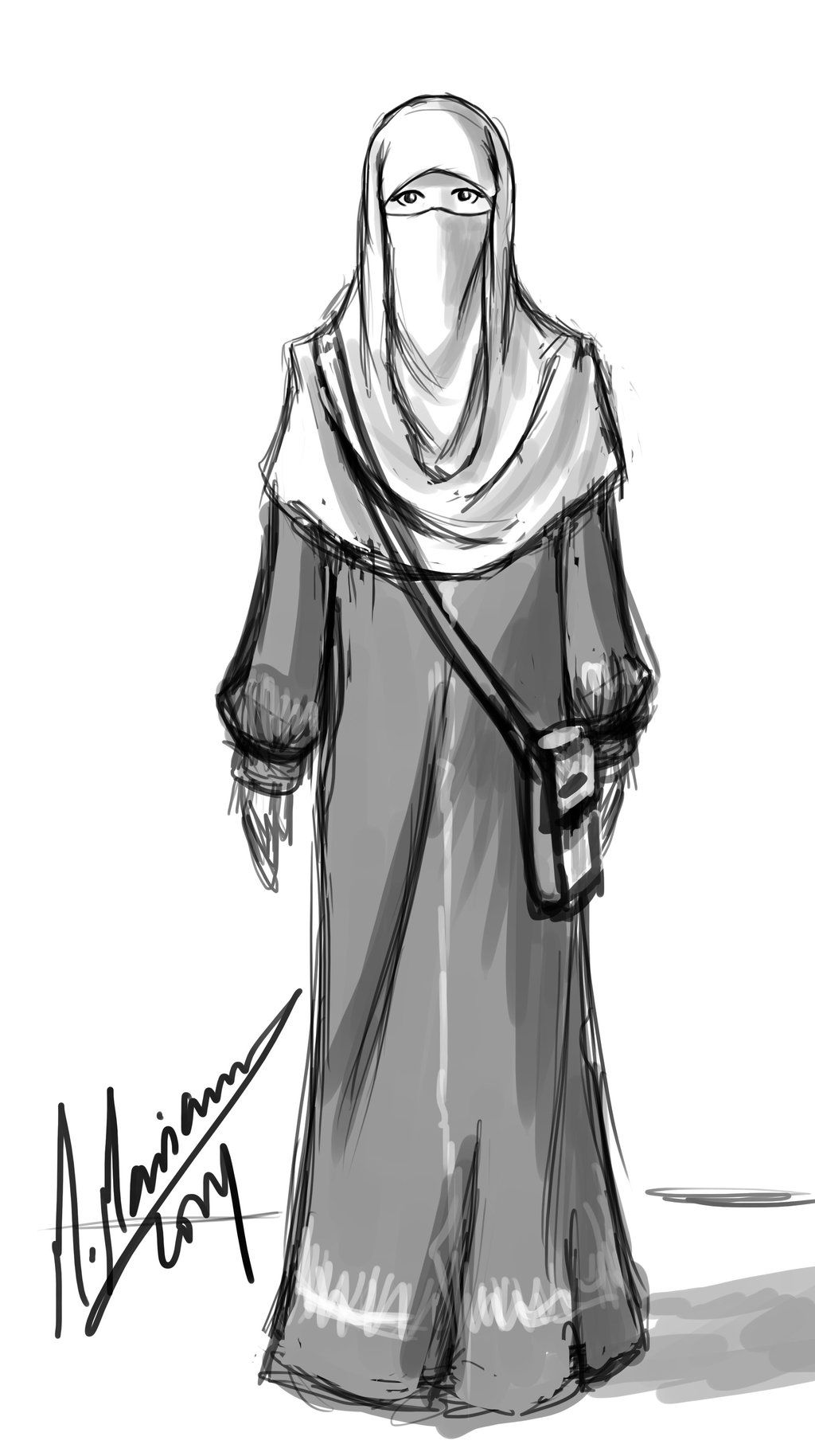 Niqabi Sketch By Madimar.deviantart.com On @deviantART   Muslim Anime   Pinterest   Sketches ...