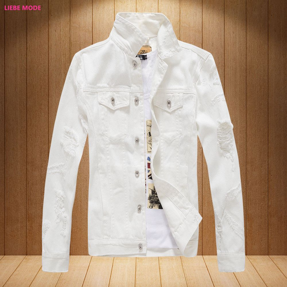 Click To Buy Mens Denim Jackets And Coats Korean Fashion Men S Ripped Jeans Bomber Jacket Male Bra Korean Fashion Men White Denim Jacket Denim Jacket Men