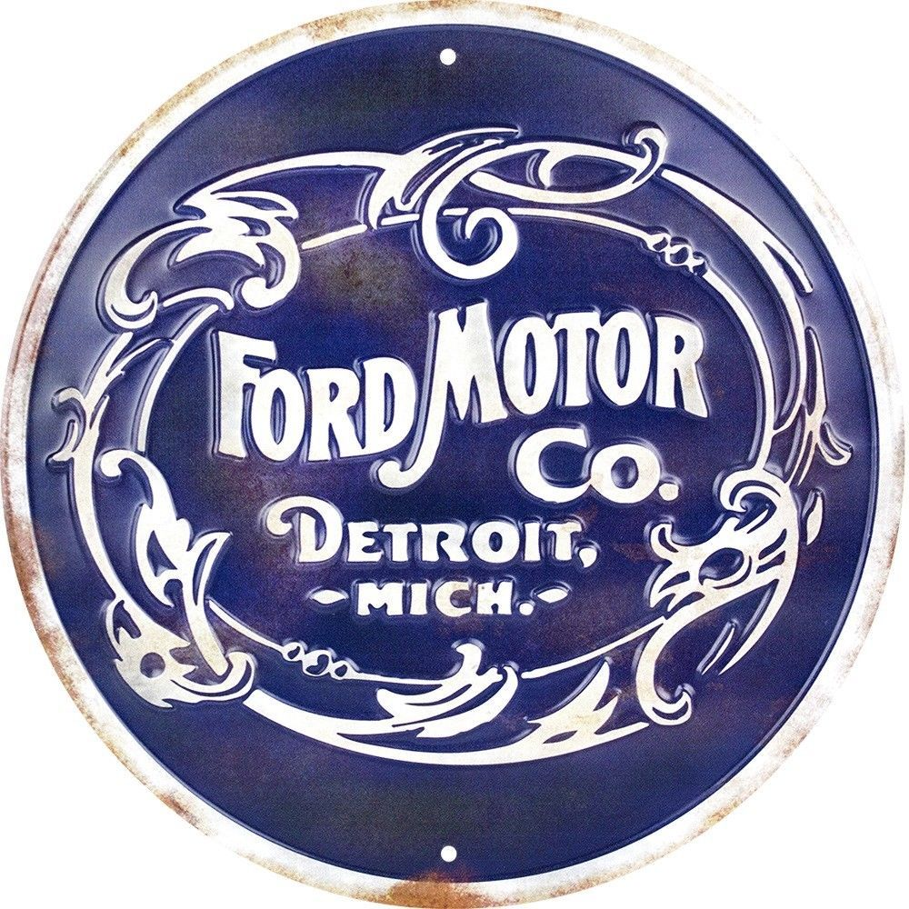"""FORD MOTOR CO DETROIT MICH 12/"""" ROUND METAL RETRO EMBOSSED SIGN CO MICHIGAN"""