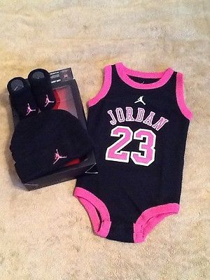 3a5604ca2f4 NIKE JORDAN Baby PINK Girl Bodysuit Romper Set Hat Shoes Booties Socks 0-6M
