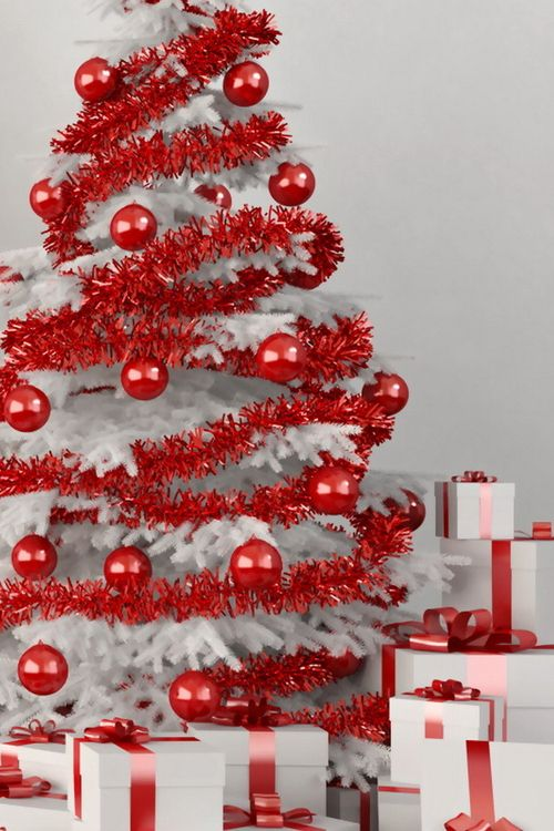 White christmas tree with red ornaments or any color of your choice! (We  prefer