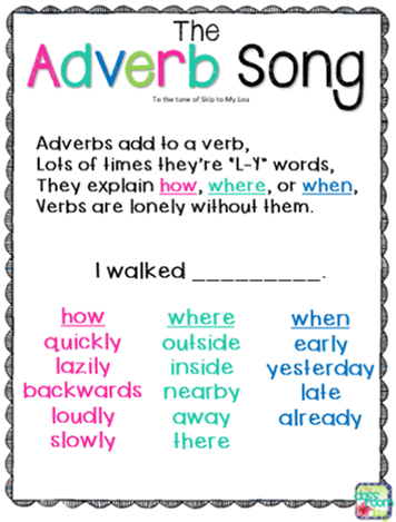 the adverb song parts of speech pinterest teaching grammar