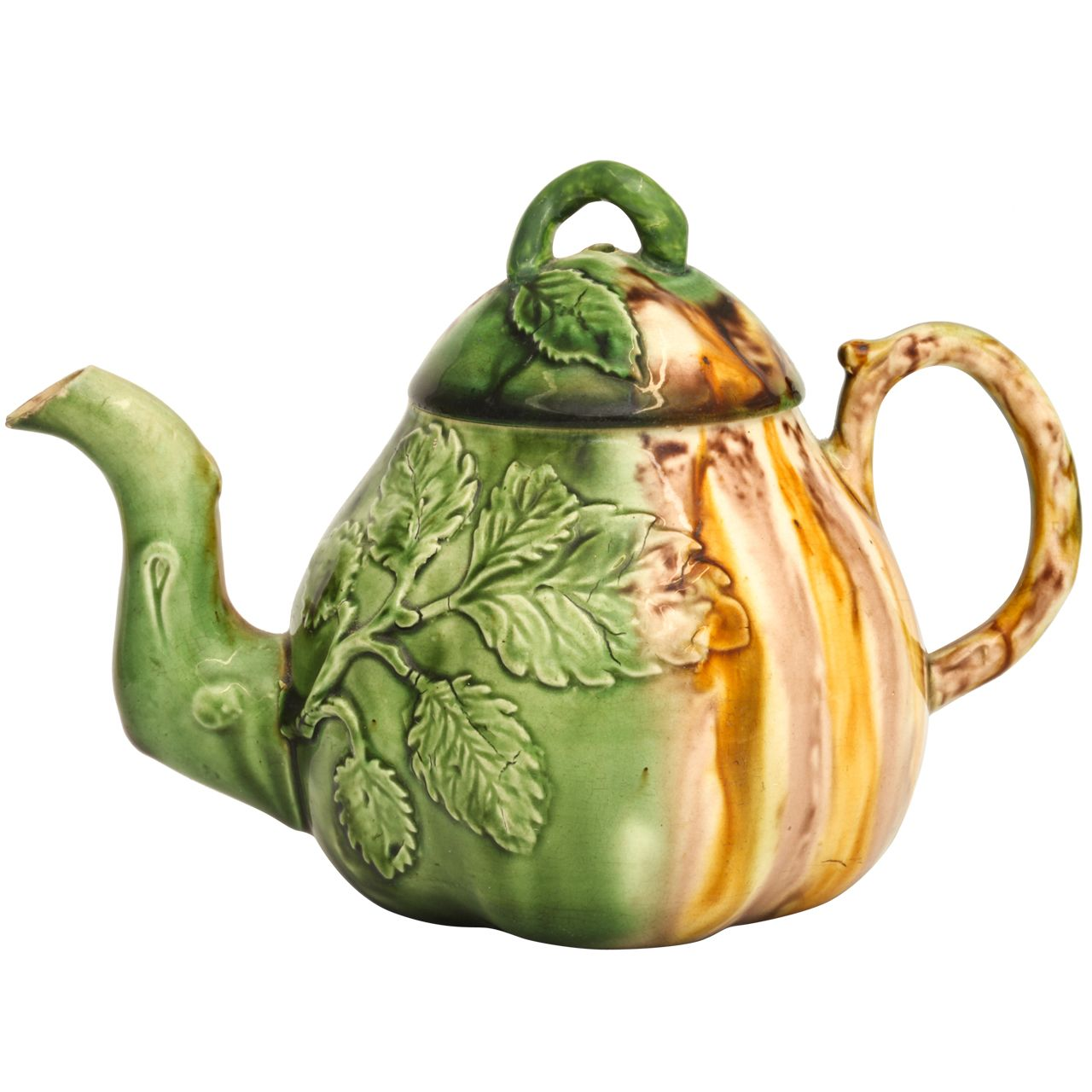 A Rare Whieldon School Pottery Pear Shape Teapot | From a unique collection of antique and modern pottery at http://www.1stdibs.com/dining-entertaining/pottery/