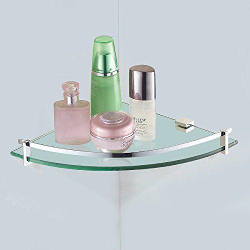 UpdatedVDOMUS Tempered Glass Bath Corner Shelf Bathroom Shower