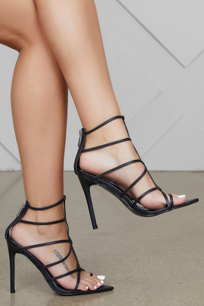 d1ad61b85d5 Friday Caged Heels (Black) in 2019