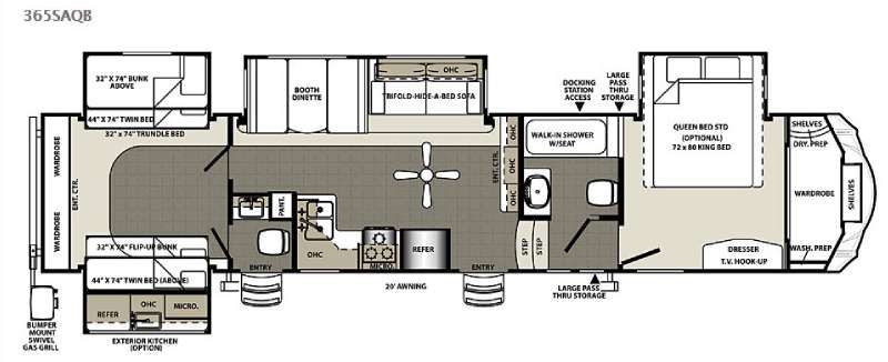 Used 2015 forest river rv sandpiper 365saqb fifth wheel at for 2 bathroom 5th wheel