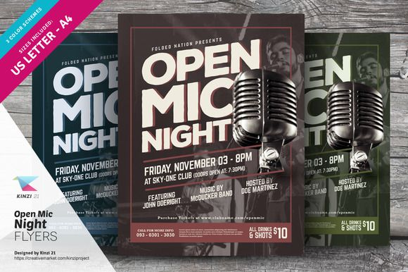Open Mic Night Flyer Template @creativework247 | Flyer Templates ...