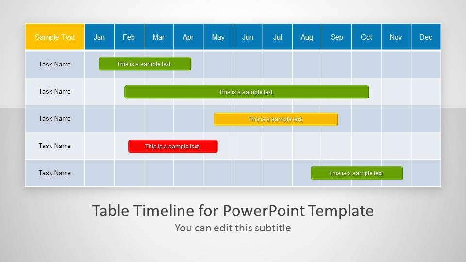 Table Timeline Template for PowerPoint Microsoft powerpoint - project timelines