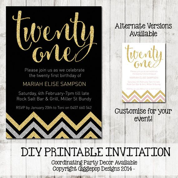 Twenty First Birthday Invitation Printable by GigglepopDesigns – Personalised 21st Birthday Invitations