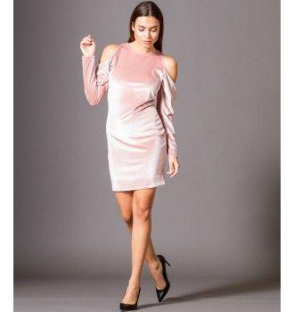 cc40a9b773c Βελούδινο Μίνι Φόρεμα με Έξω Ώμους - Μake up | Βελούδινα φορέματα