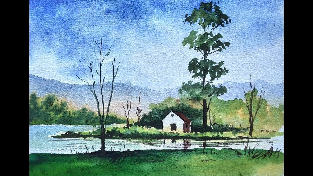 Village Scenery In Beautiful Landscape Watercolour Painting