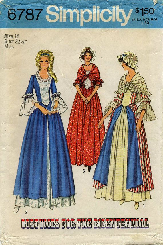 Uncut Misses Historical Costume Pattern 1700 S Bicentennial Colonial Gown Size 10 Halloween Vintage Sewing Simplicity 6787 Colonial Dress Colonial Dress Pattern Costume Patterns