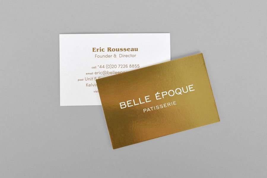 Gold business cards for London based French Patisserie Belle Epoque ...