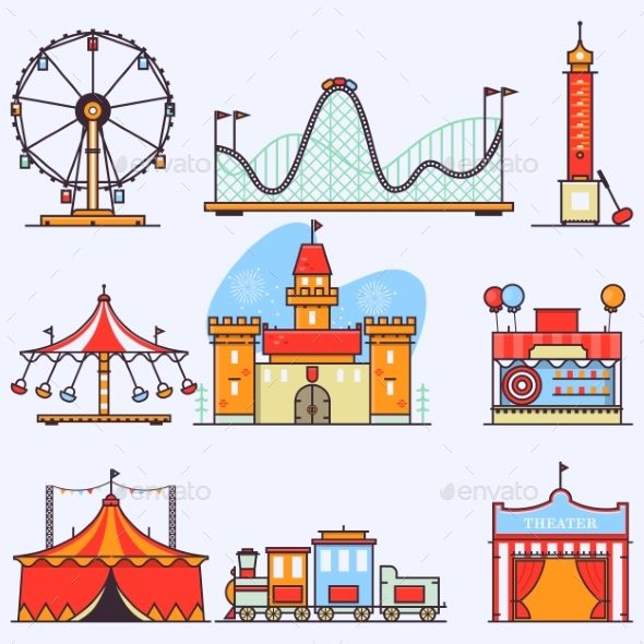 Amusement Park Vector Flat Elements Isolated Roller Coaster Drawing Ride Drawing Amusement Park Rides