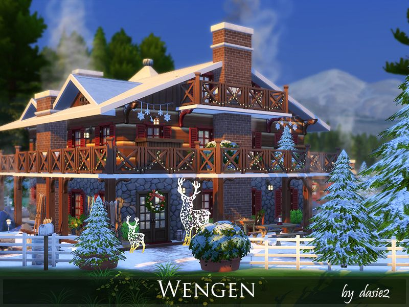 This Winter Chalet Is Built In The Sims 4 Environment In Granite Falls Found In Tsr Category Sims 4 Residential Lots Sims Sims House The Sims 4 Lots