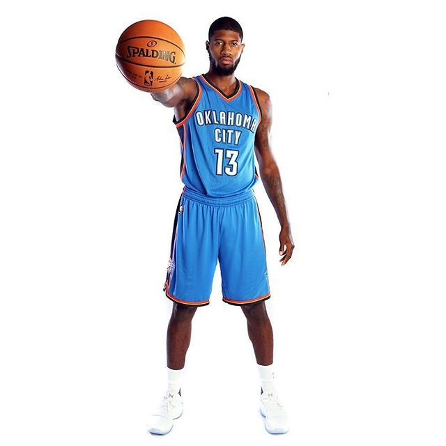 205943911 Paul George makes his official debut in OKC Thunder jersey No. 13 while  wearing an unreleased Nike PG1. For more on Paul George s big move