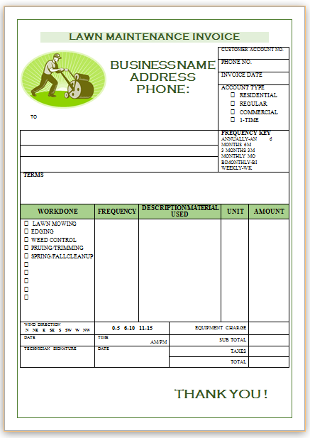 Landscaping Invoice Template 1  Weekly Invoice Template