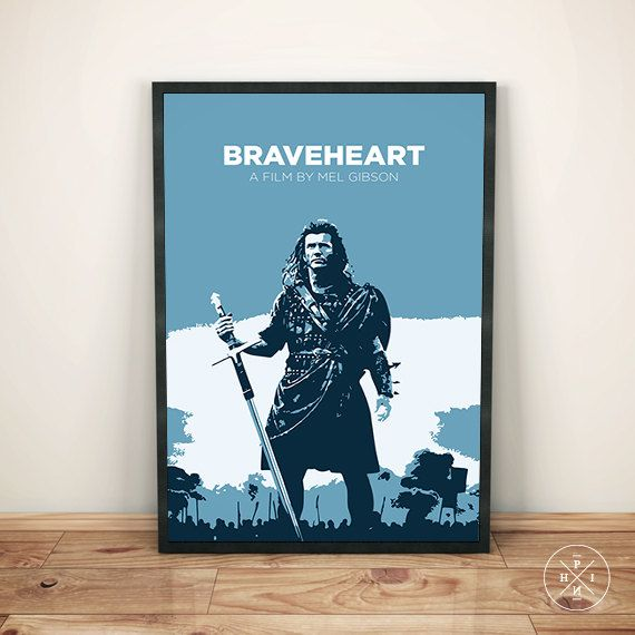 Braveheart mel gibson william wallace england minimalist movie print office inspirational gift decor quote poster custom
