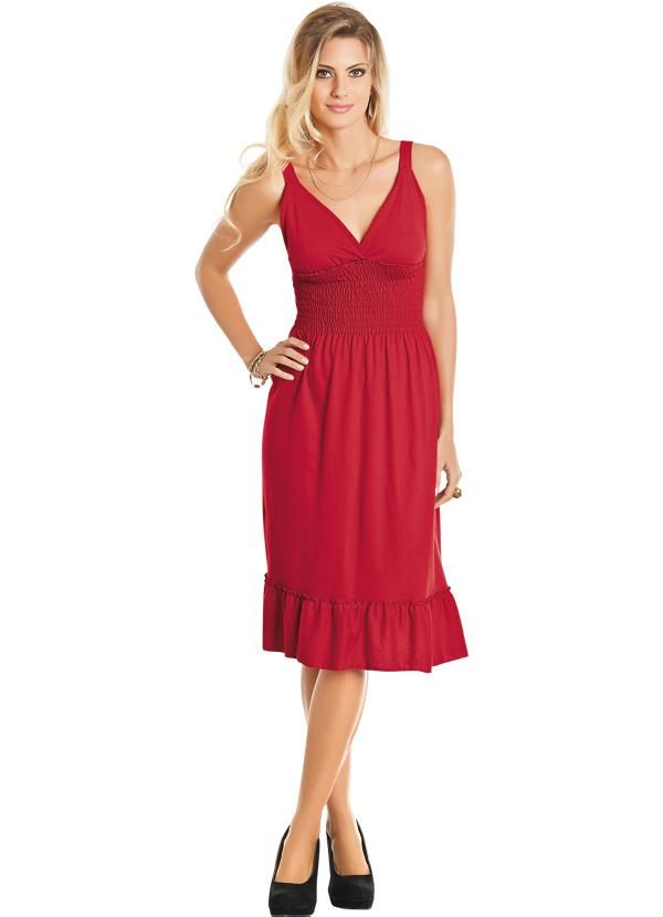 9849f0625 Vestido Vermelho Decote em V. Vestido Vermelho Decote em V Decote