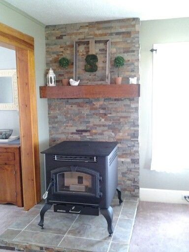 Stone Wall And Floor For Pellet Stove Pellet Stove Log Home Interiors Wood Stove Decor