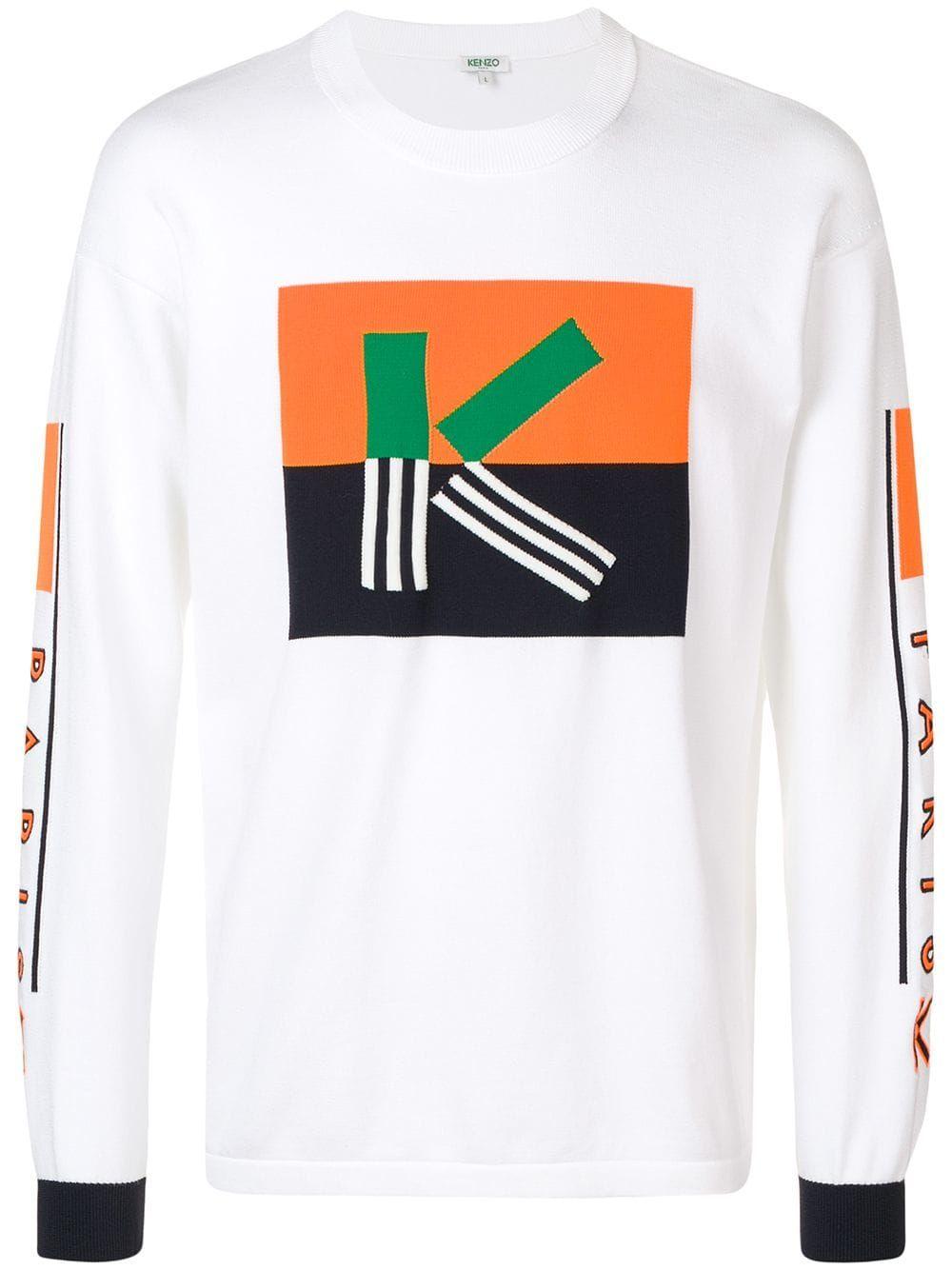 Kenzo K colour block jumper White | Kenzo, Color blocking
