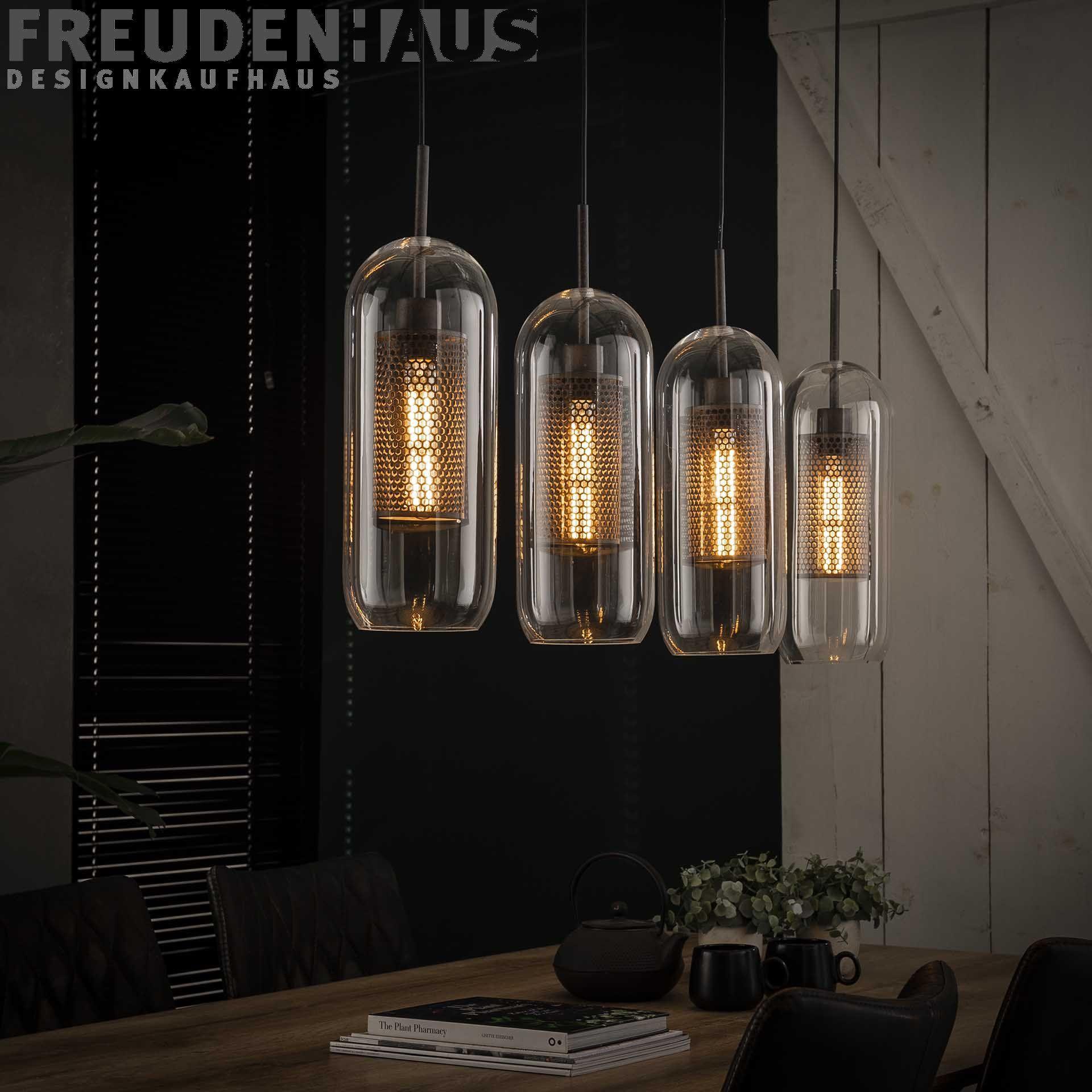 Hangelampe Industrial Lochstahl Glas 4er Lampen Esstisch Beleuchtung Und Hangelampe Glas
