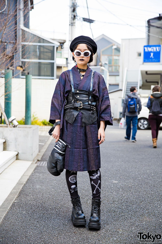 Photo of Harajuku Girl in Harness Over Kimono w/ Glad News, Demonia & Glavil
