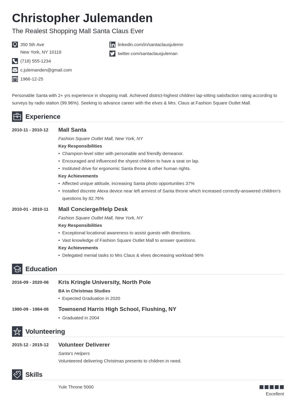 Mall Santa Resume Example Template Iconic Resume Examples Resume Job Resume Examples