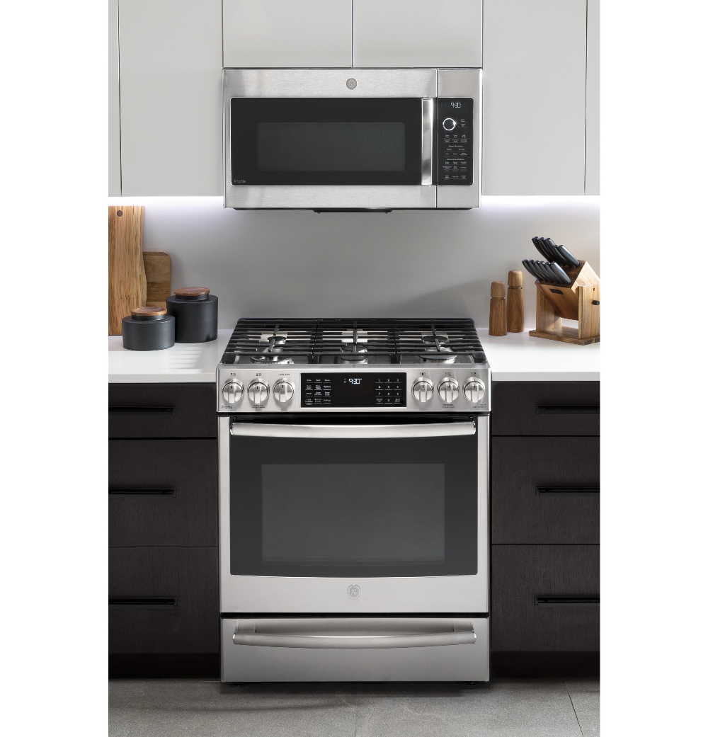 Ge Profile 1 7 Cu Ft Convection Over The Range Microwave Oven Pvm9179skss Ge Appliances In 2020 Over The Range Microwaves Range Microwave Microwave Oven