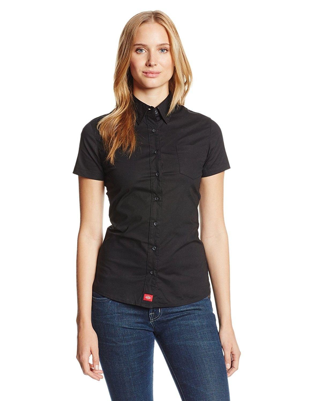 068f0de7 Dickies Juniors' Poplin Short-Sleeve Shirt - Black - CD1192LURKD,Women's  Clothing, Tops & Tees, Blouses & Button-Down Shirts #women #fashion #style  #outfits ...