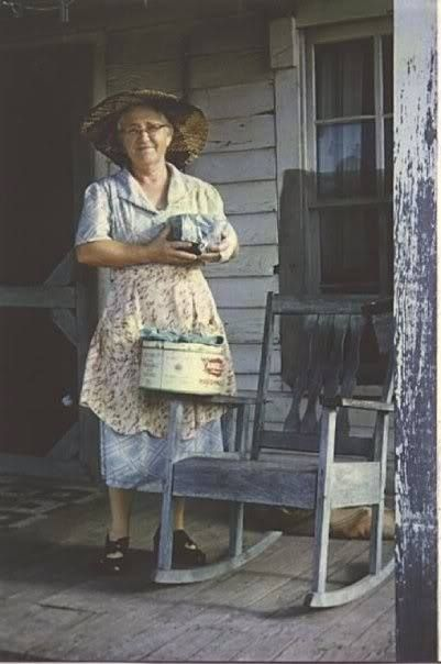 Sweet country lady by Country Lane  ~ Mamma always with and apron and a homemade bonnet for when she worked outside
