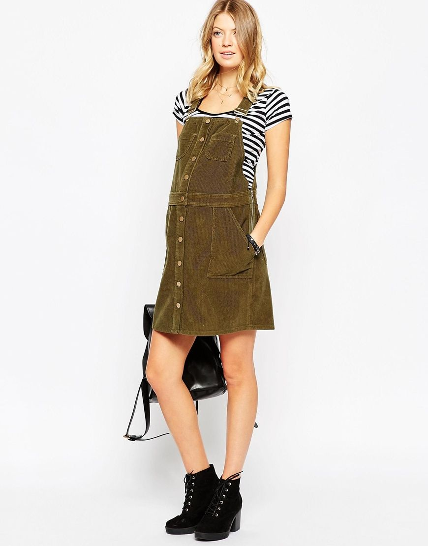 65826e8b42 Image 4 of ASOS Maternity Button Down Pinafore Dress In Cord ...