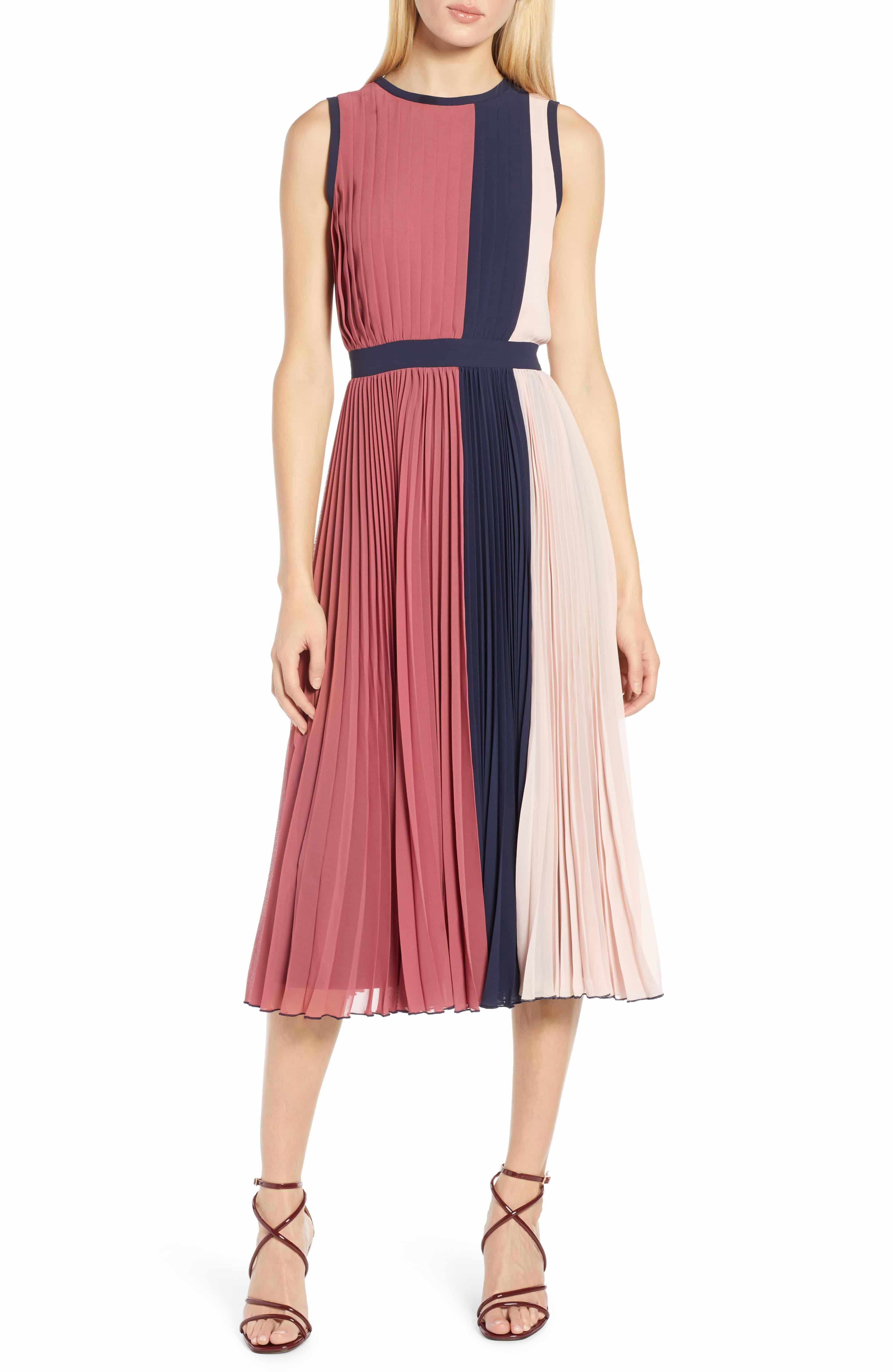 832df2567650 x Atlantic-Pacific Colorblock Pleated Midi Dress, Main, color, PINK- NAVY  COLORBLOCK