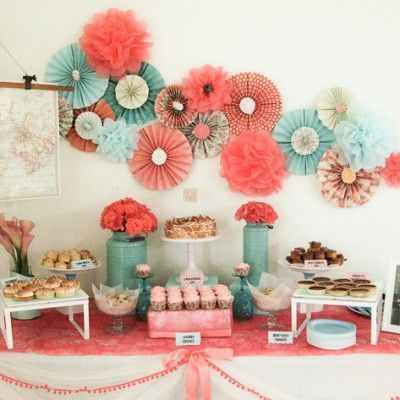 Coral and teal themed wedding dessert table baby shower for Baby blue wedding decoration ideas