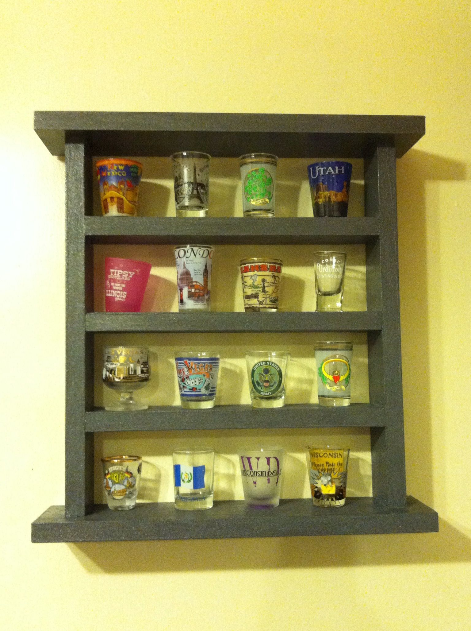 Shot glass display Needed one 1x3 and one 1x4 pine boards and stain