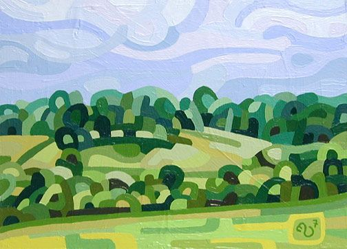 Contemporary abstract landscape painting art by Mandy Budan - Summer Afternoon
