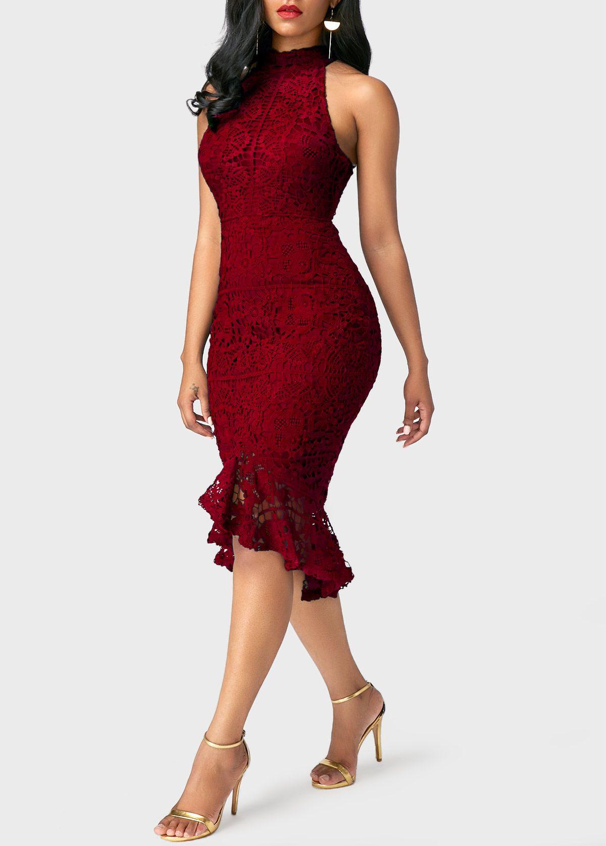 dcd085ad6d9 Burgundy Mock Neck Sleeveless Peplum Hem Sheath Dress