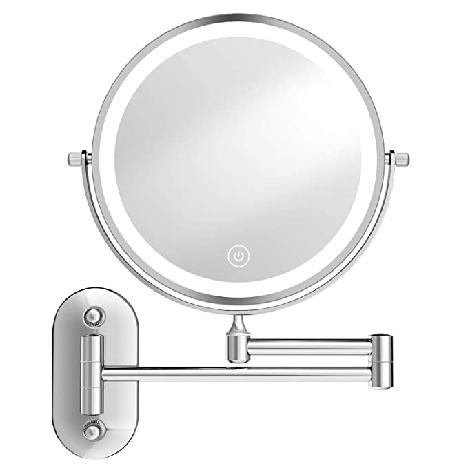 Amazon Com O Vantage Lighted Makeup Mirror Wall Mount Makeup Mirror With High Config In 2020 Wall Mounted Makeup Mirror Makeup Mirror With Lights Adjustable Lighting