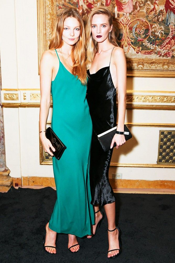 31400a4df2840 The Return of the Slip Dress! teal evening dress and black evening dress via  @WhoWhatWear