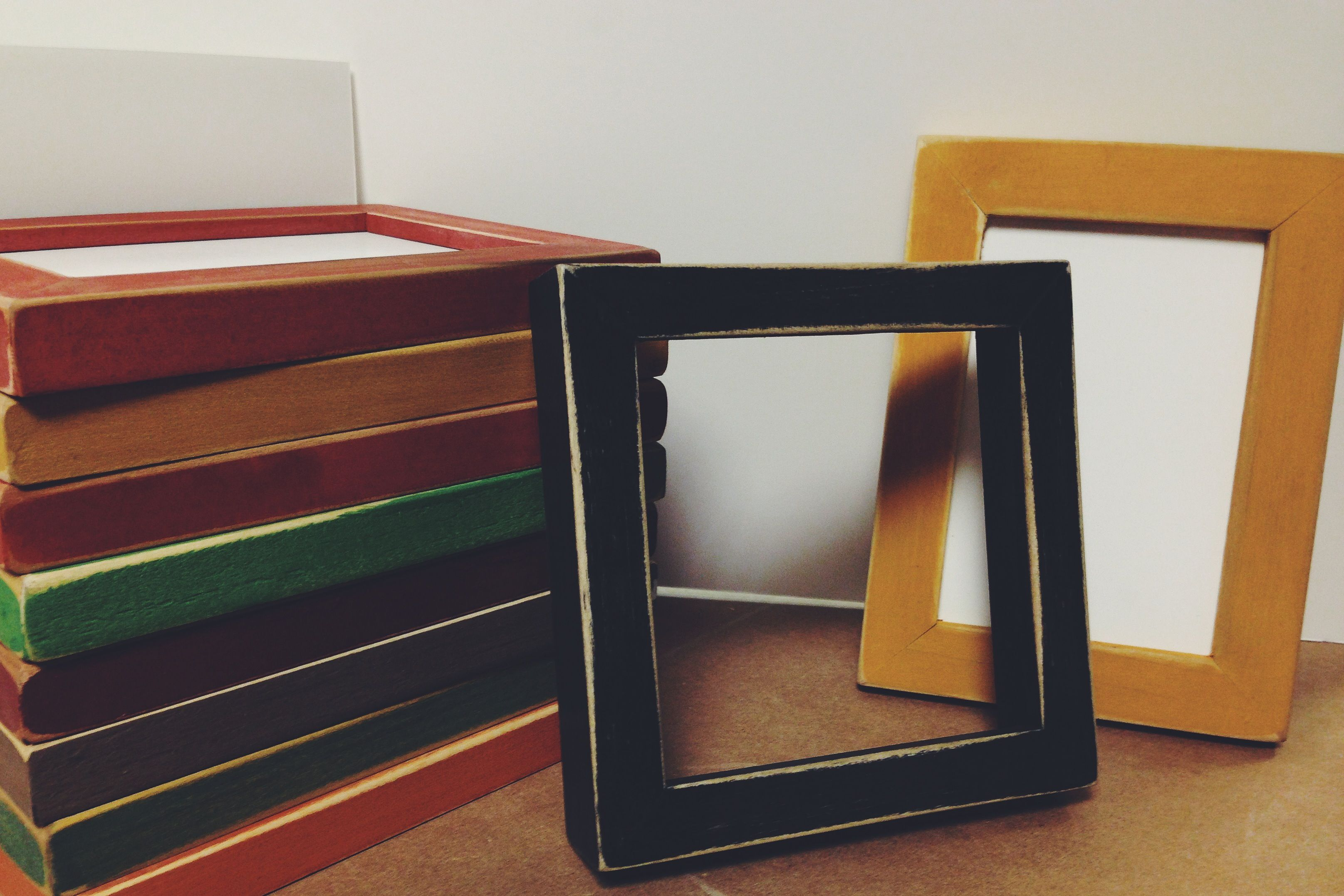Distressed Picture Frames - Black, yellow, red, blue, green....  rustic, hand painted picture frames: smithpictureframes.com