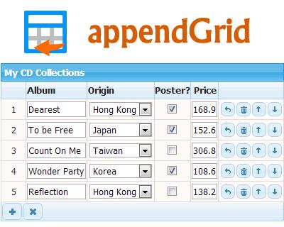 appendGrid – Dynamic Table Input jQuery Plugin #jQuery #data