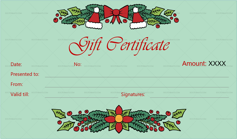 Christmas Gift Certificate Template Mint 1869g Doc Formats Christmas Gift Certificate Template Christmas Gift Certificate Certificate Templates