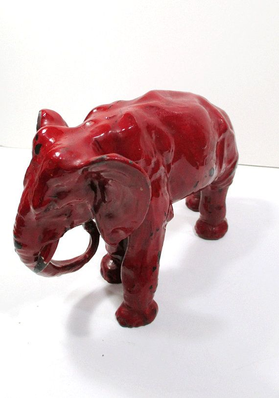 Reserved For Clif Antique Red Cast Iron Elephant Door Stop Bookend Home Decor Home