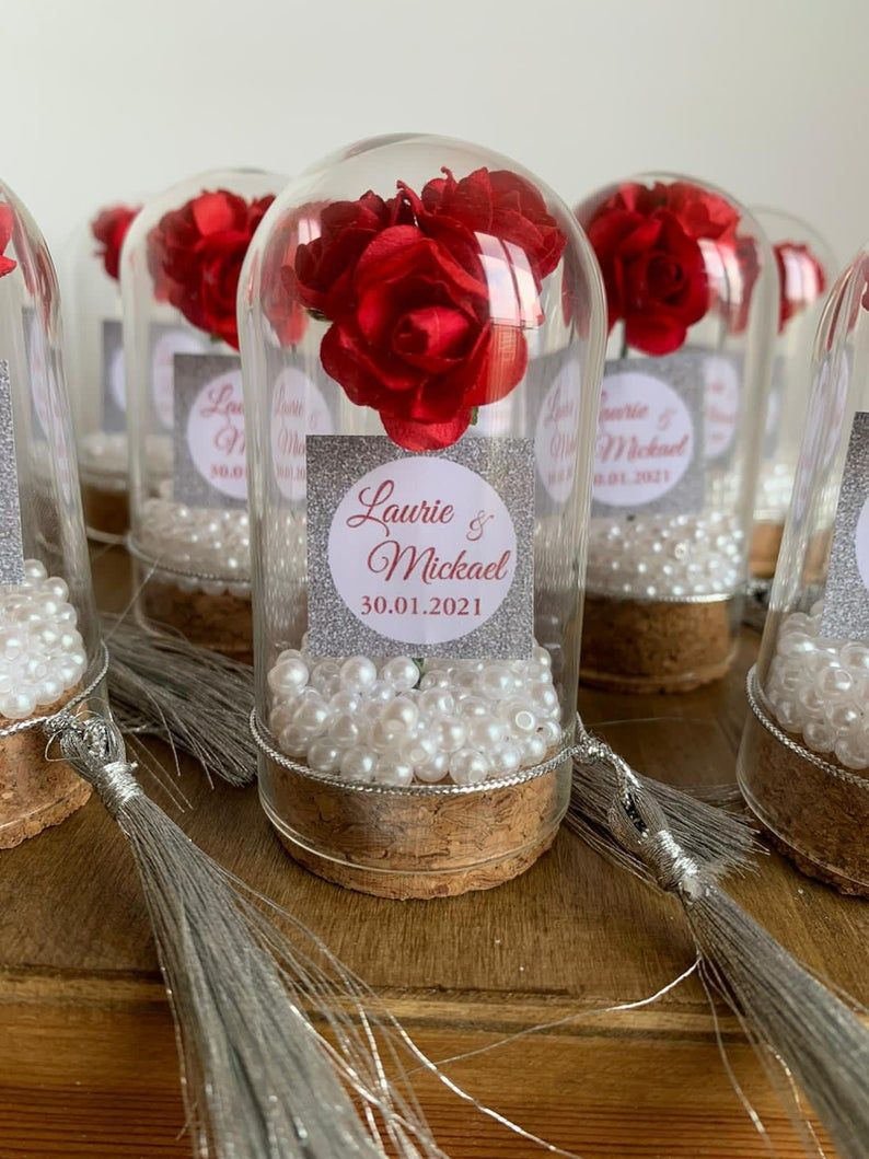 Personalised Wedding Party Thank you Favors for Guests Beauty And The Beast Rose Enchanted Rose Rose In Mini Glass Dome Wedding Favor 10 PCS